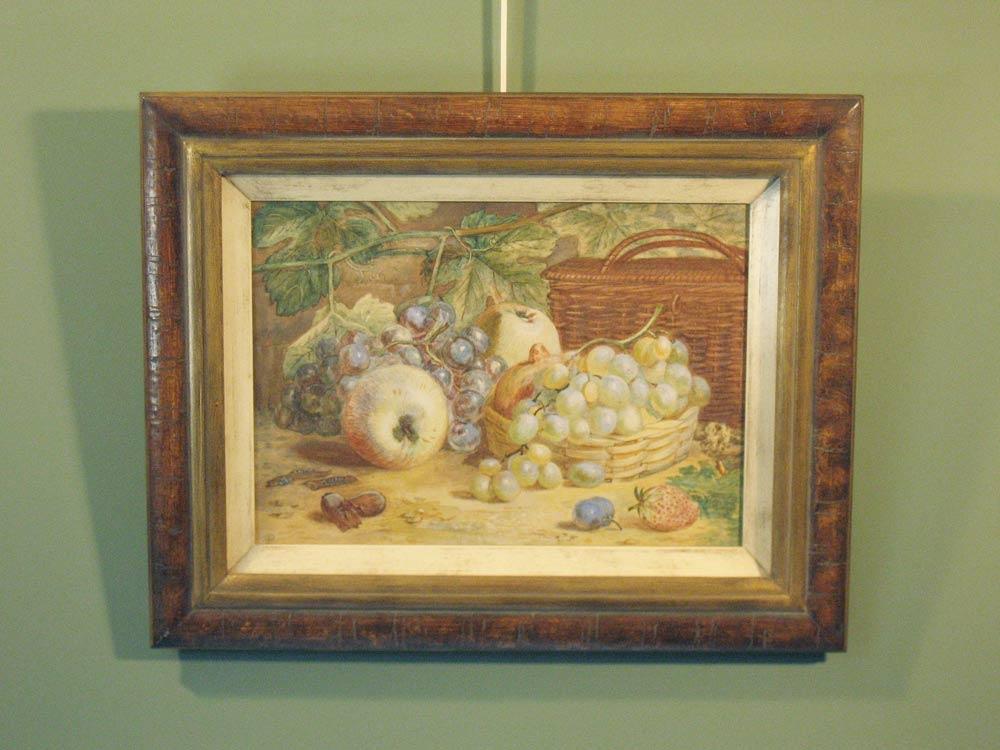 Fruitstilleven, aquarel op papier, met monogram A.P, afmeting incl. lijst 42x52cm