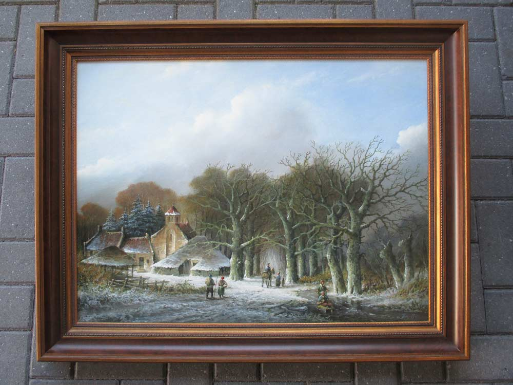 Winterlandschap, olieverf op linnen, afmeting incl. lijst 80x100cm
