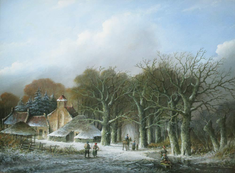Winterlandschap, olieverf op linnen, afmeting 60x80cm doekmaat