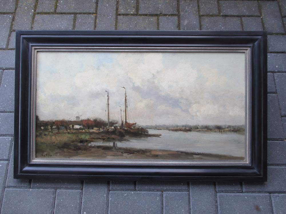 Riverview, oil on canvas, size including frame 60x100cm