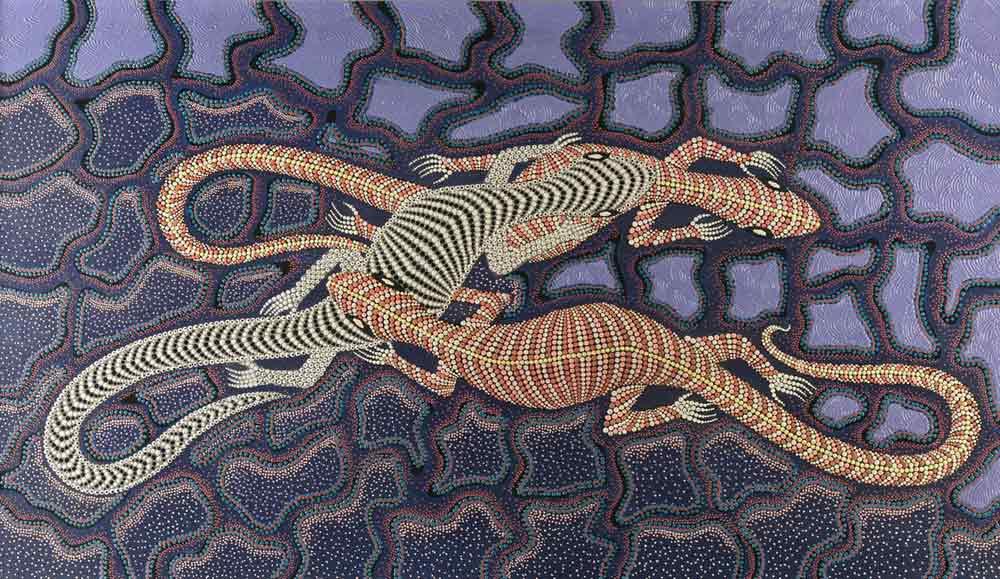 Salamanders (toyisten), acryl op linnen, afmeting 80x140cm doekmaat