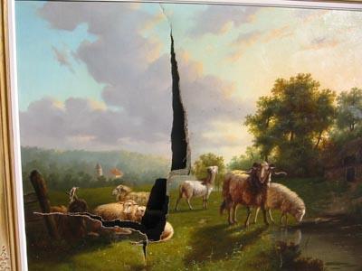 schilderij met grote schade