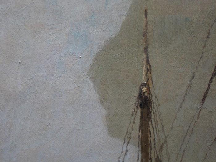 Detailopname reinigen van schilderije