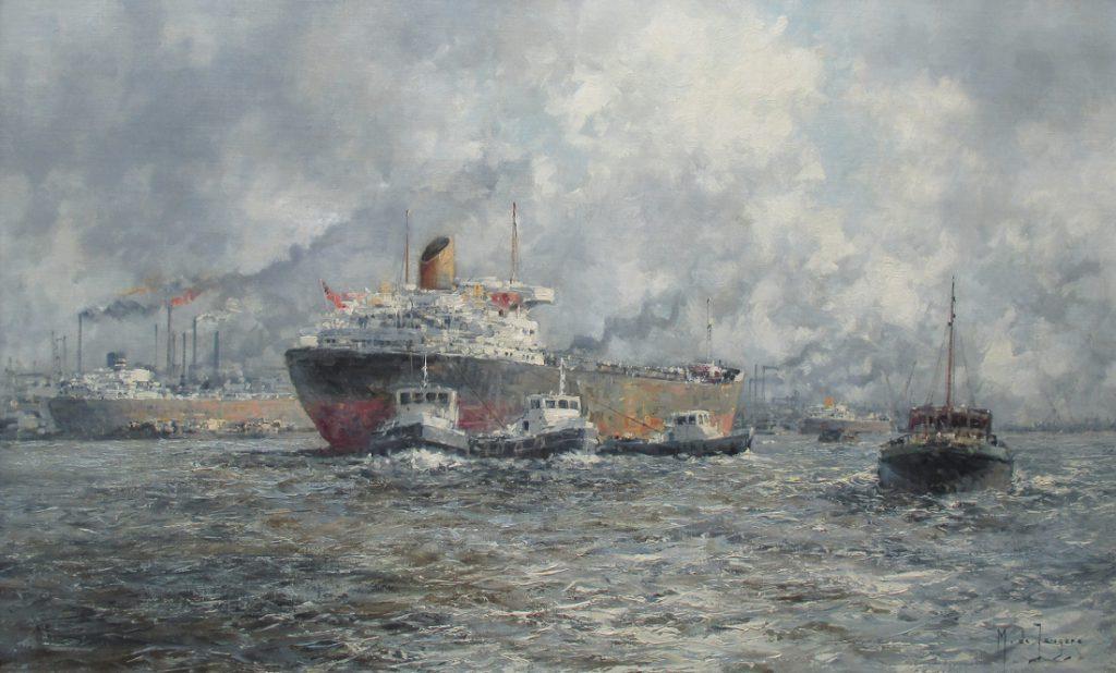Havengezicht Rotterdam, olieverf op linnen, afmeting-60x100cm-doekmaat