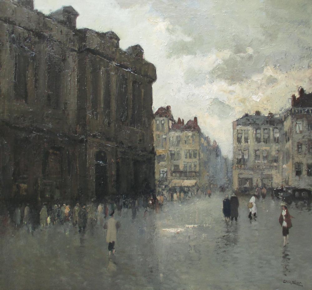 Stadsgezicht met figuren (Brussel), olieverf op linnen, afmeting 61x65cm doekmaat