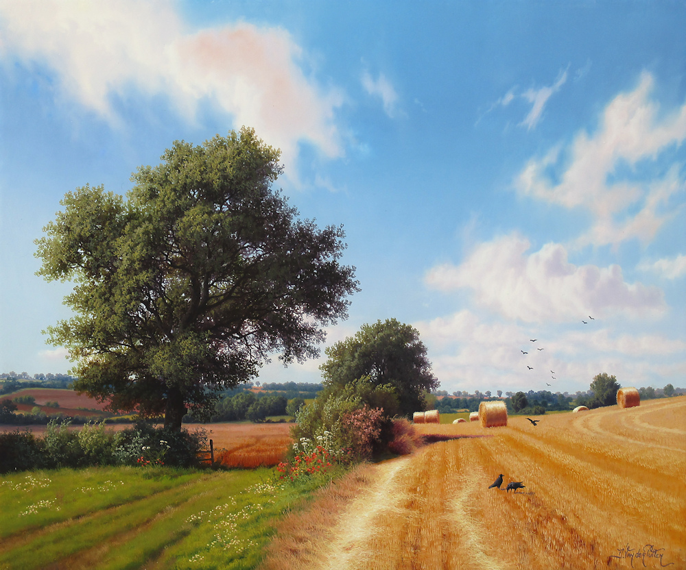 Landscape with cornfield, oil on panel, size 33x39,5cm panel