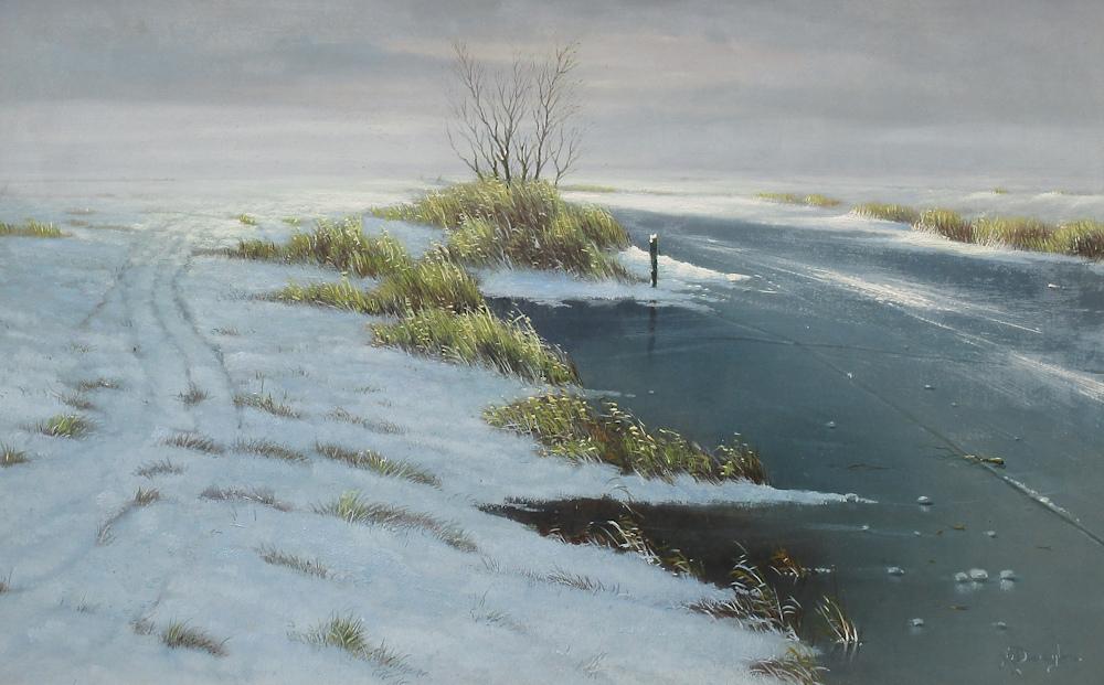 Winterlandschap, olieverf op paneel, afmeting 35x55cm paneelmaat