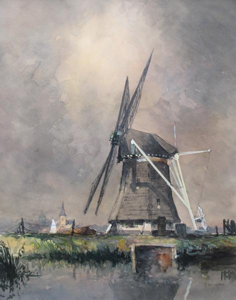 Landschap met molen, gemengde techniek op papier, afmeting 50x65cm beeldmaat
