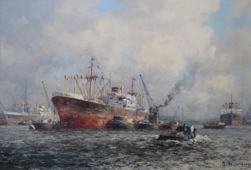 Havengezicht Rotterdam, olieverf op linnen, afmeting 60x90cm doekmaat