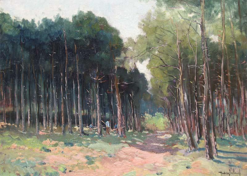 Houthakkers in het bos, Andries Verleur, 1876-1953, afmeting 36x48cm paneelmaat