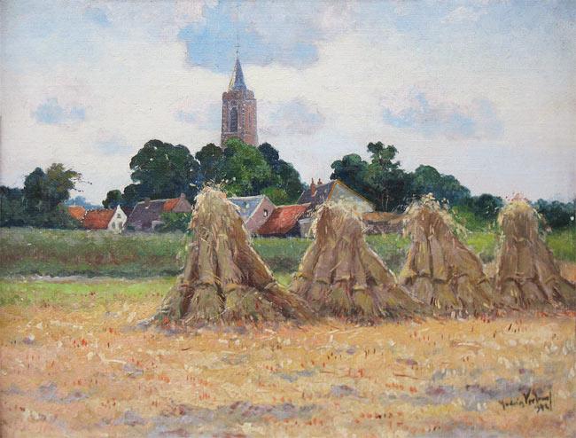 Korenschoven, Andries Verleur, 1876-1953, afmeting 40x50cm doekmaat