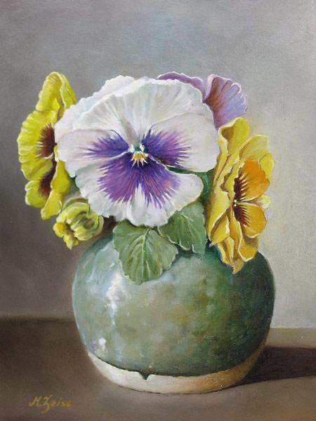 Zeiss, M. Zeiss, Mels Zeiss, violen op vaas, afmeting 19x25cm paneelmaat