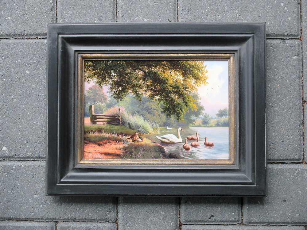 Ducks by the waterside, oil on panel, size including frame 28x36cm