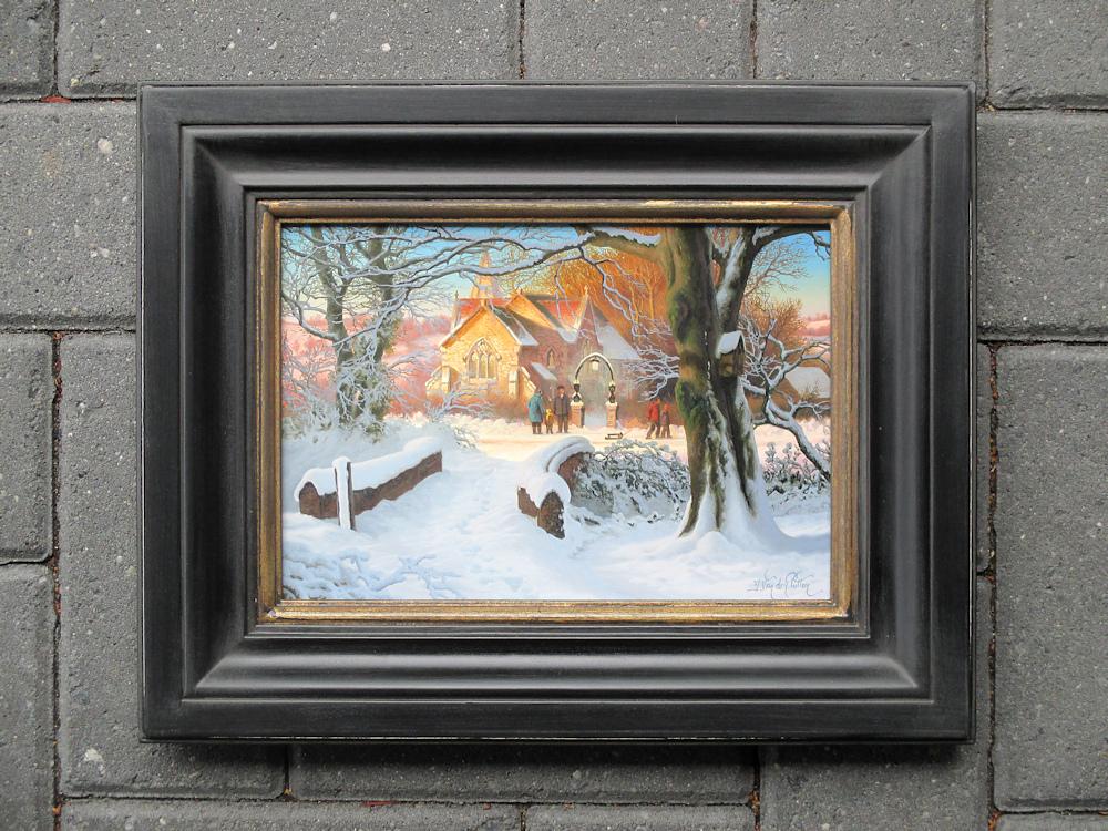 Wintergezicht, olieverf op paneel, afmeting inclusief lijst 28x36cm