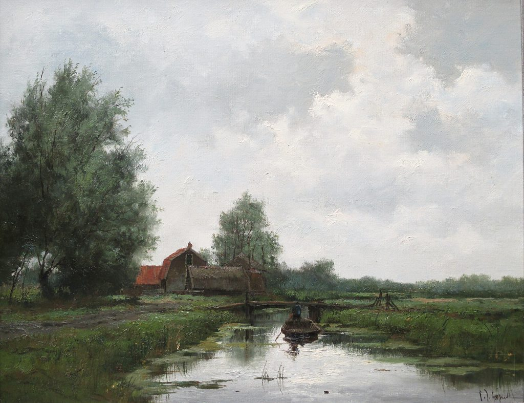 Frits Goosen, poldergezicht, afmeting 40x50cm doekmaat