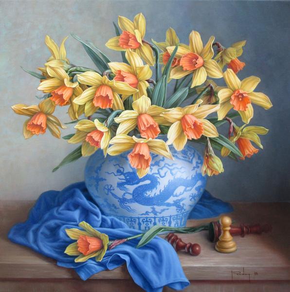Narcissen op een Chinese pot, olieverf op linnen, afmeting 50x50cm doekmaat