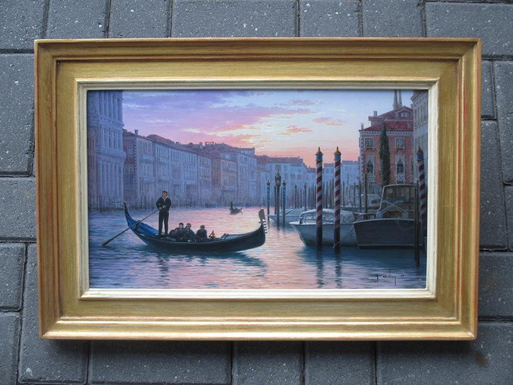 Venetië, olieverf op linnen, afmeting inclusief lijst 46x66cm