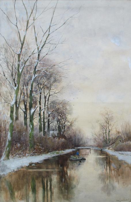 Wintergezicht, aquarel op papier, afmeting 45x70cm beeldmaat