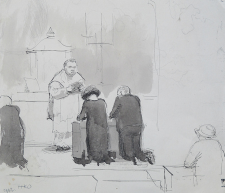Huwelijk Clara (op achterkant beschreven), tekening/aquarel, afmeting 17x20cm, zonder lijst
