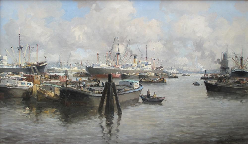 Havengezicht Rotterdam, olieverf op linnen, afmeting 60x100cm doekmaat