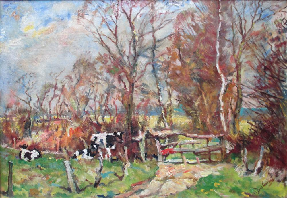 Koeien aan de bosrand, olieverf op linnen, afmeting 65x95cm doekmaat