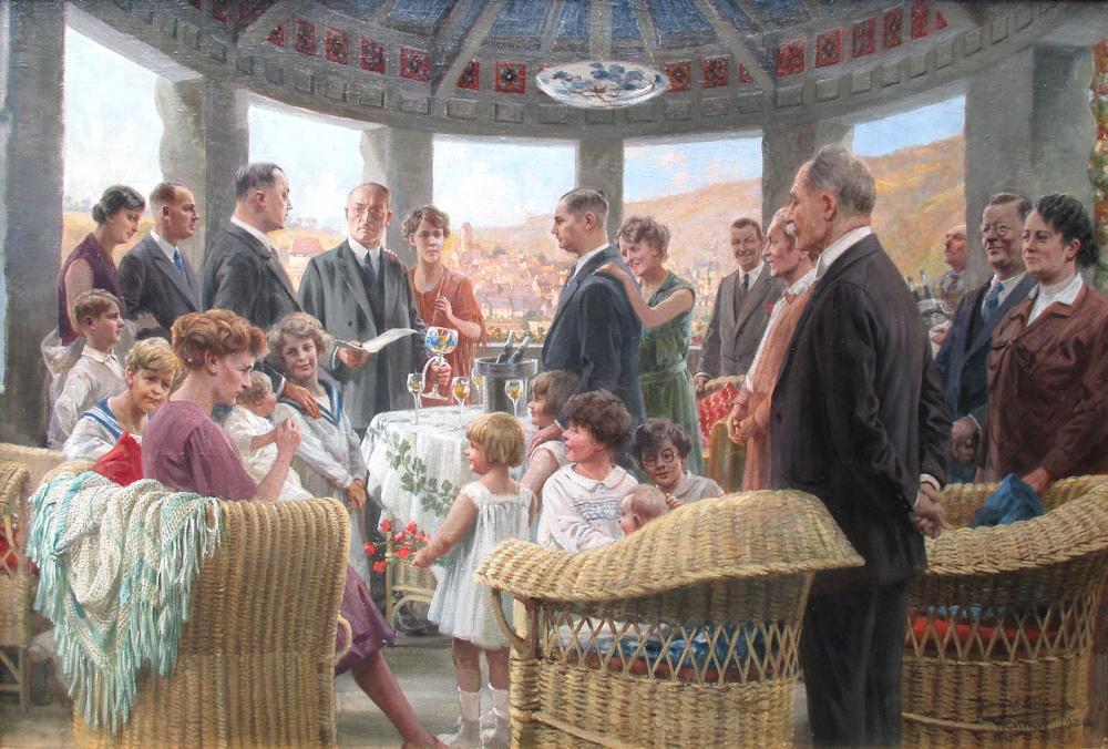 Het familiefeest, olieverf op linnen, afmeting 65x95cm doekmaat