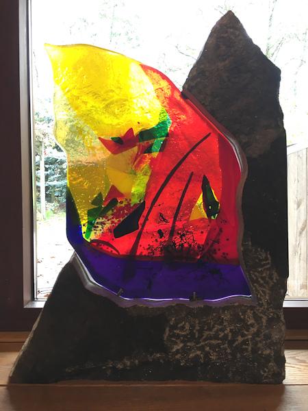 Glazen object, hoogte 83cm