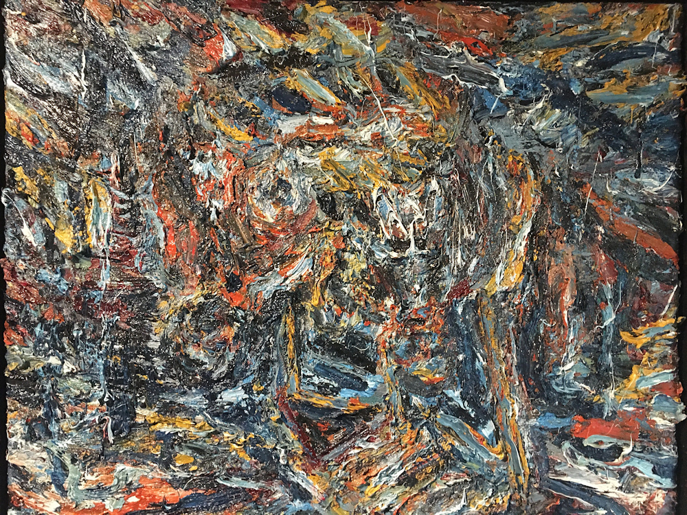 Vrije compositie, olieverf op linnen, afmeting 80x100cm doekmaat