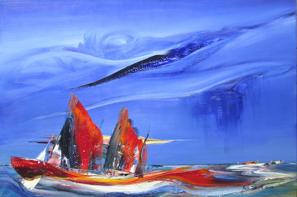 Schip op volle zee, olieverf op linnen, afmeting 150x100cm doekmaat