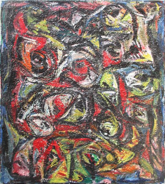 Vrije compositie, olieverf op linnen, afmeting 100x90cm doekmaat