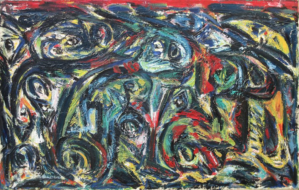 Vrije compositie, olieverf op linnen, 45x70cm doekmaat