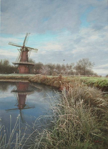 Gezicht op de Hunze bij Gasselternijveen, olieverf op linnen, afmeting 50x70cm doekmaat