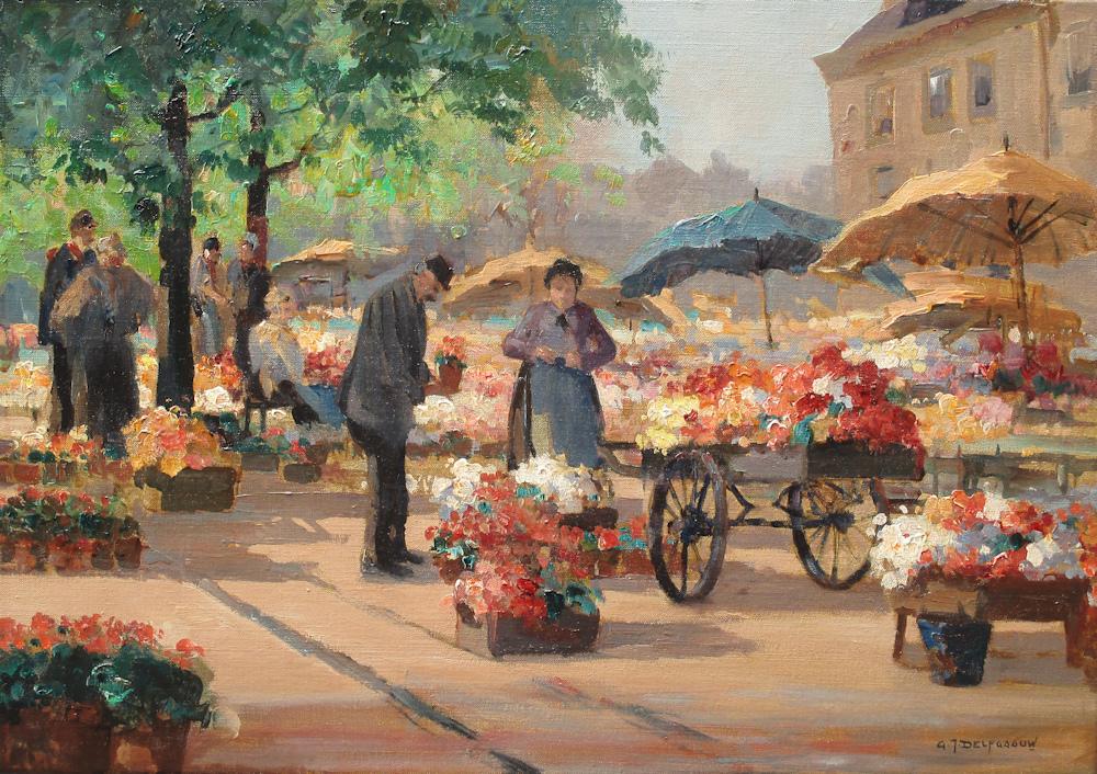 Bloemenmarkt, olieverf op linnen, afmeting 35x50cm doekmaat