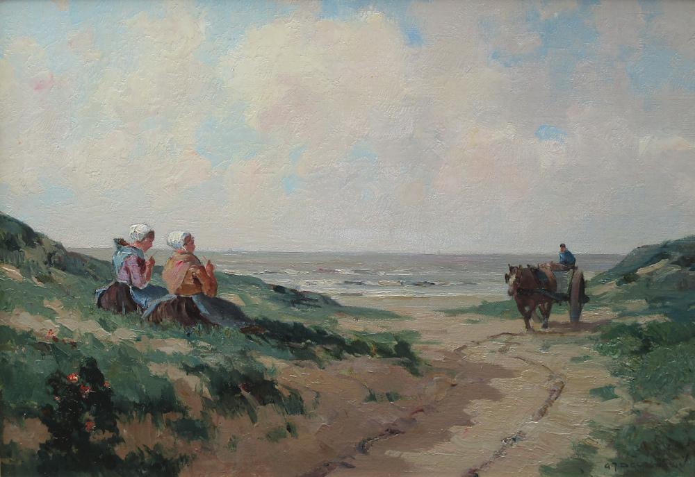 Strandgezicht, olieverf op linnen, afmeting 35x50cm doekmaat