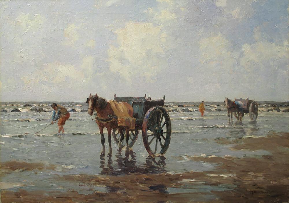 Schelpenvisser bij Scheveningen, olieverf op linnen, afmeting 50x70cm doekmaat