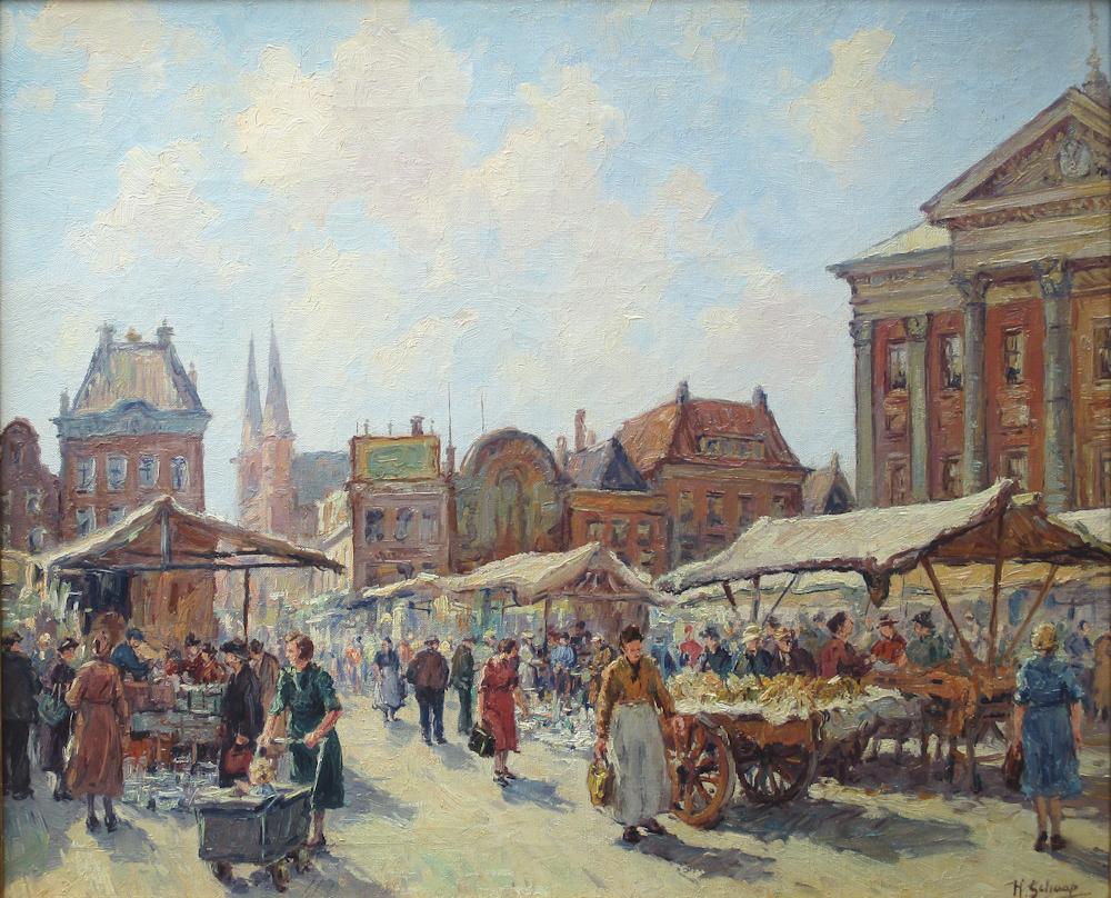 Groningen, olieverf op linnen, afmeting 50x60cm doekmaat