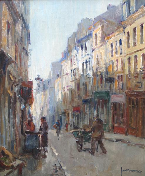 Straatje in Parijs, olieverf op linnen, afmeting 50x60cm doekmaat