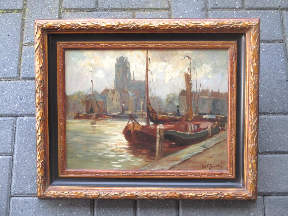 Stadsgezicht Dordrecht, olieverf op linnen, afmeting 30x40cm doekmaat, inclusief lijst 42x52cm