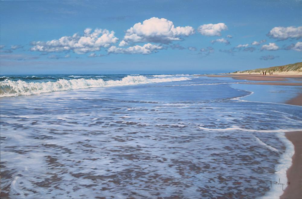 Strandgezicht, olieverf op linnen, afmeting 40x60cm doekmaat