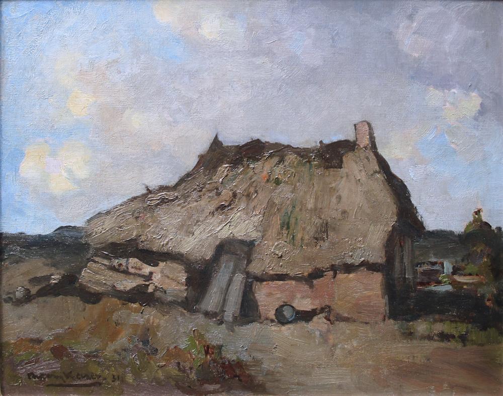 Boerenerf, olieverf op linnen, afmeting 40x50cm doekmaat