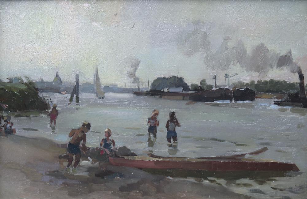 Spelende kinderen, olieverf op linnen, 33x49cm doekmaat
