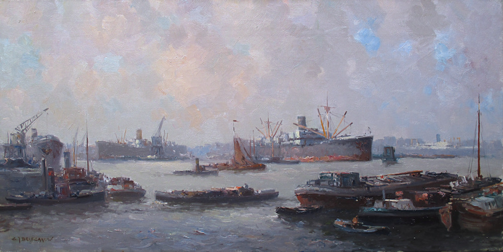 Havengezicht Rotterdam, olieverf op linnen, afmeting 40x80cm doekmaat, prijs is incl. lijst