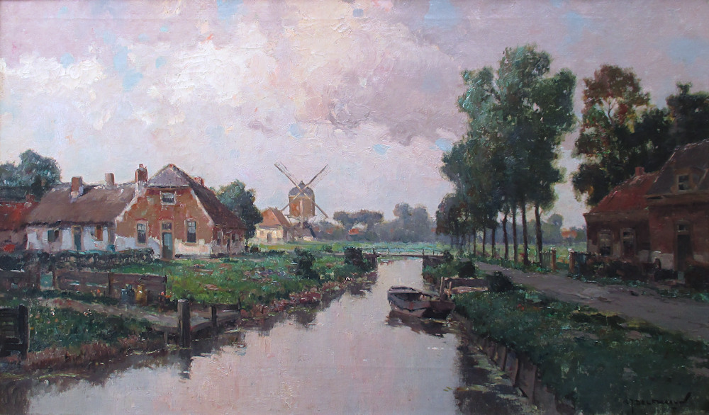 De Veenweg in Stompwijk, olieverf op linnen, afmeting 60x100cm doekmaat