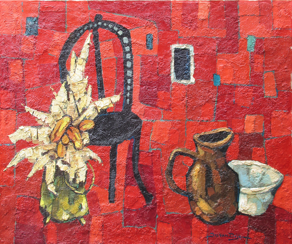 Vrije compositie, semi abstract, olieverf op linnen, afmeting 80x100cm doekmaat, zonder lijst