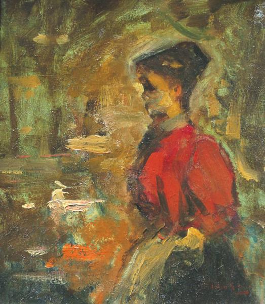 Meisje in het rood, olieverf op linnen, afmeting 35x41cm doekmaat
