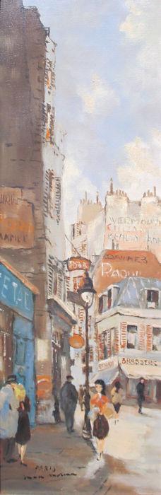 Straatje in Parijs, olieverf op linnen, afmeting 24x70cm doekmaat
