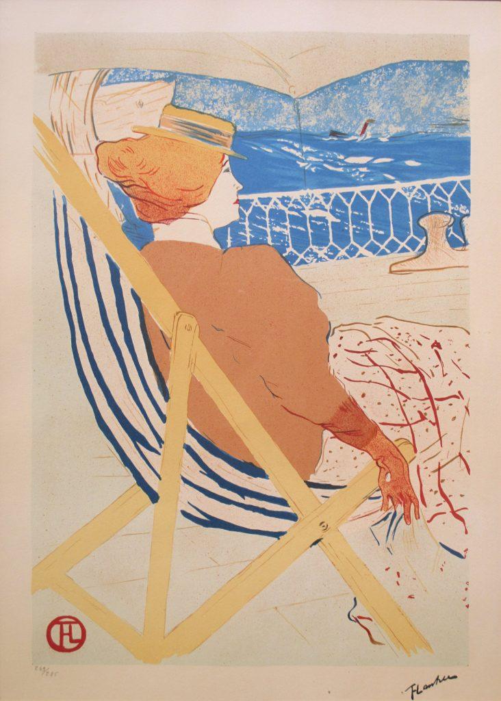 Dame in strandstoel, litho, afmeting 50x70cm beeldmaat