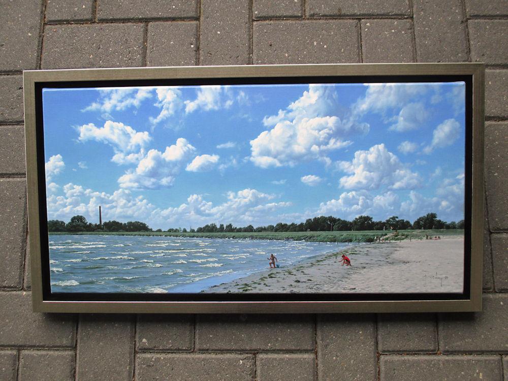 Strandgezicht bij Lemmer, olieverf op linnen, afmeting inclusief lijst 41x76cm