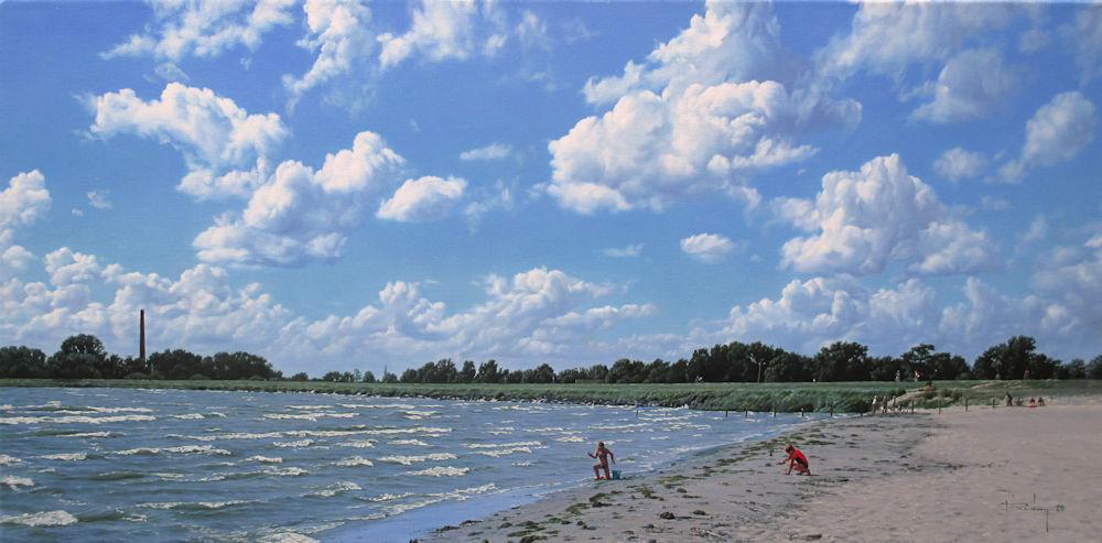 Strandgezicht bij Lemmer, olieverf op linnen, afmeting 35x70cm doekmaat