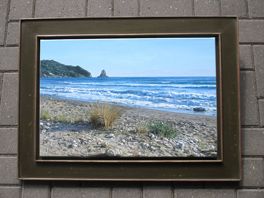 Strandgezicht op Corfu (Griekenland), olieverf op linnen, afmeting inclusief lijst 60x80cm